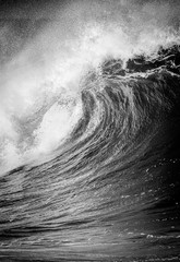 Obraz na SzkleBig breaking Ocean wave in black and white at Waimea bay on the north shore of Oahu Hawaii