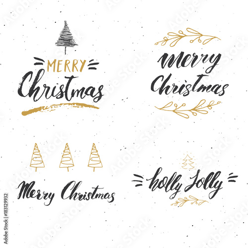 Merry Christmas Calligraphic Letterings Set Canvas-taulu