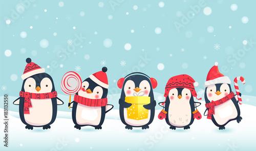 Fototapeta premium ilustracja kreskówka pingwiny