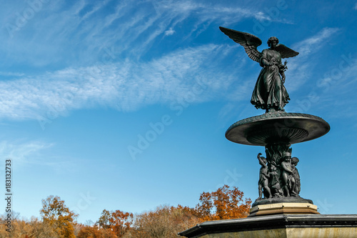Angel of the Waters statue at the top of Bethesda fountain in Central Park, NYC Poster