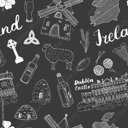 Photo  Ireland Sketch Doodles Seamless Pattern