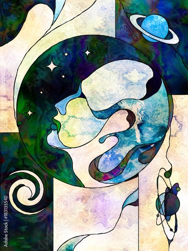 Wall Murals Watercolor Skull Sphere of Knowledge