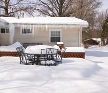 Backyard Deck In Winter Deep S...