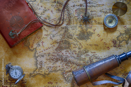Ancient Map Possibly Pirate Or Treasure Or Middle Earth With