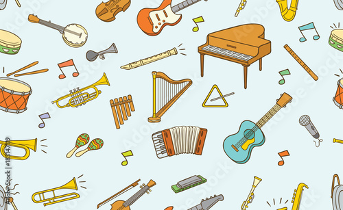 Fototapeta Seamless pattern of doodle musical instrument in color