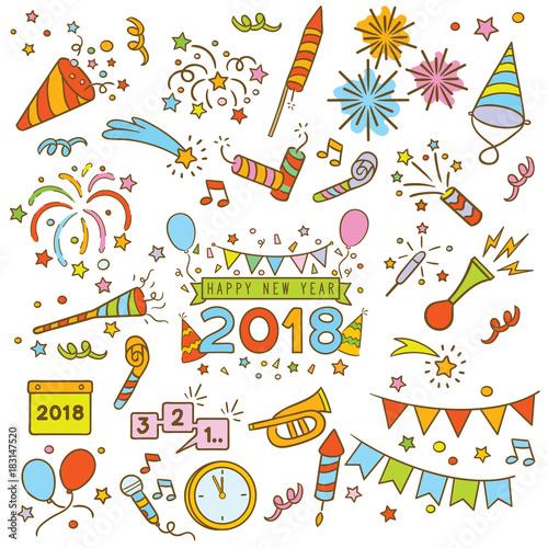 Photo  Happy new year doodle elements