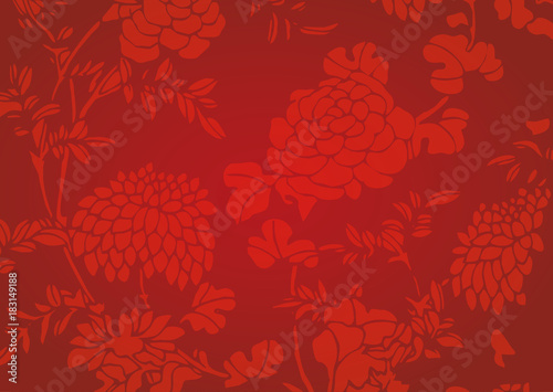 Traditional red gradient Asian flower textured background Wallpaper Mural