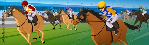 Obraz na płótnie Horse racing, Racecourse, Jockey