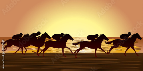 Fotomural Horse racing beach , Racecourse, Jockey, silhouette, Evening
