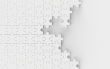 White Unsolved Jigsaw Puzzle Isolated On White Background. 3D Illustrating