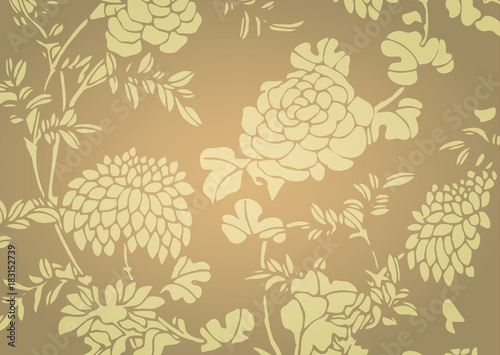 Photo Traditional golden gradient Asian flower textured background