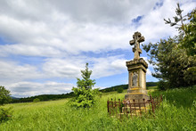Old Stone Cross In Forest Of L...