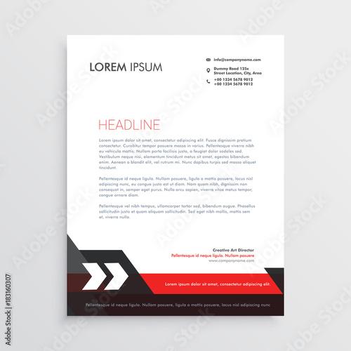 Fototapeta red black letterhead template design obraz
