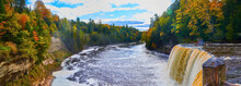 Panorama Tahquamenon Falls Waterfall Wide Angle