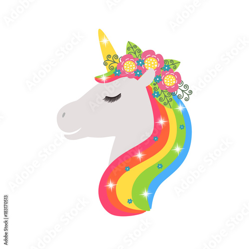 In de dag Regenboog Unicorn vector icon isolated on white. Head portrait horse sticker, patch badge. Cute magic cartoon fantasy cute animal. Rainbow hair. Design for children