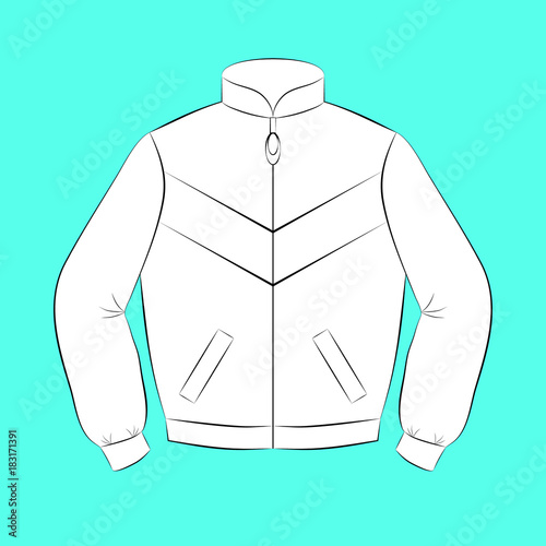 Photo White sports jacket with black contours of different thickness