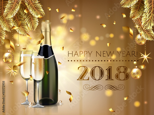 celebration cheers happy new year champagne bottle with glass in realistic style greeting card or