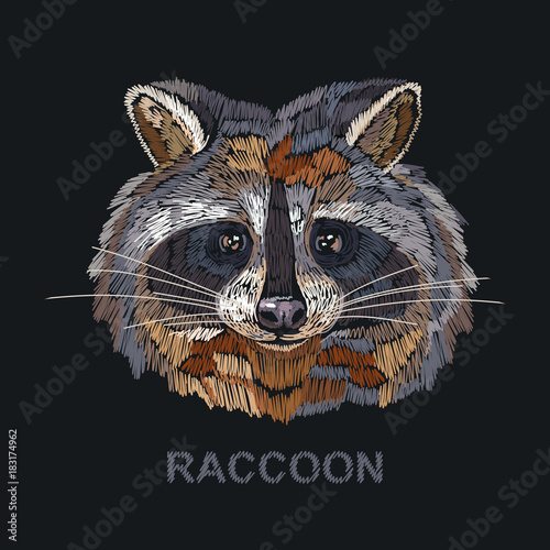 Photo sur Toile Croquis dessinés à la main des animaux Raccoon embroidery. Fashion template for clothes, textiles, t-shirt design. Classical embroidery portrait of funny raccoon