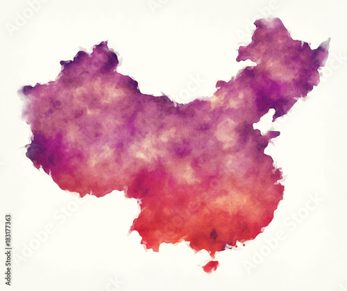 Fotografía  China watercolor map in front of a white background