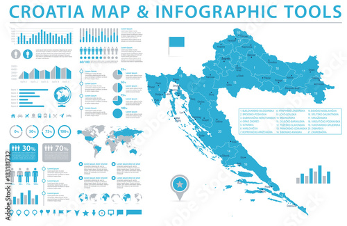 Fototapeta Croatia Map - Info Graphic Vector Illustration