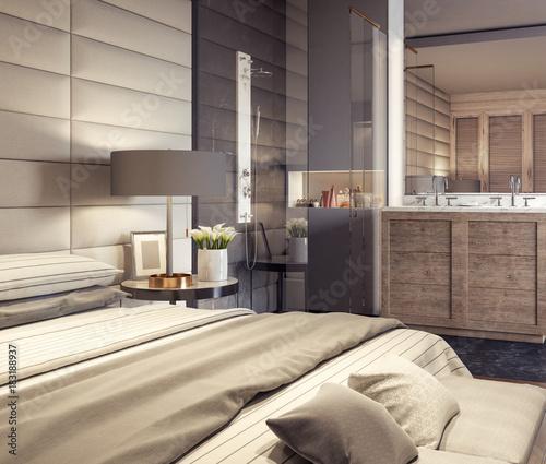 Modern Bedroom Design With Bathroom 48D Rendering Kaufen Sie Dieses Impressive 3D Bedroom Design
