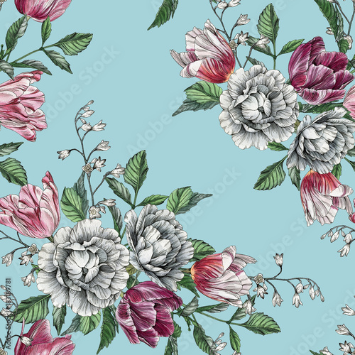 Floral seamless pattern with watercolor tulips and roses
