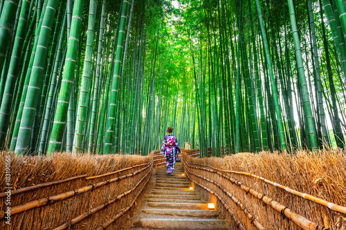 In de dag Bamboe Bamboo Forest. Asian woman wearing japanese traditional kimono at Bamboo Forest in Kyoto, Japan.