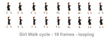 Business Girl Walk Cycle Animation Sprite Sheet,  Women Walk Cycle, Animation Frames