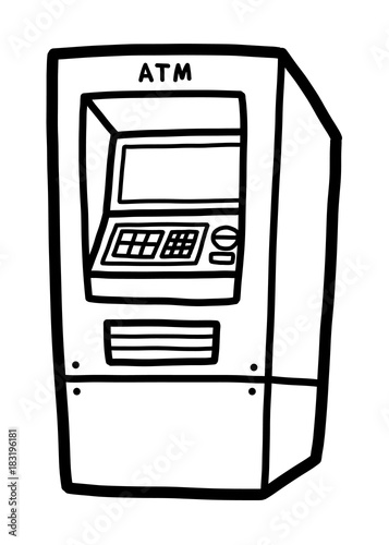 Obraz na plátne ATM / cartoon vector and illustration, black and white, hand drawn, sketch style, isolated on white background
