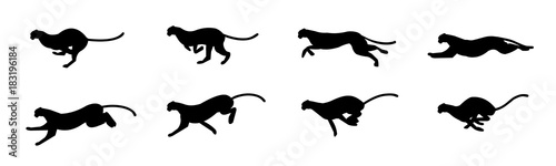 Photographie Cheetah run cycle Animation Sprite Sheet, Silhouette,  Animation frames, Running
