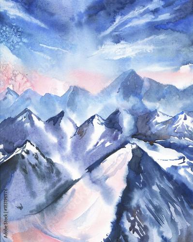 Zima krajobraz z niebem i górami. Ręcznie rysowane akwarela ilustracja.