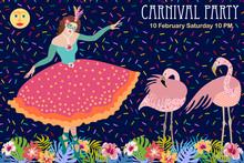 Tropical Night. Dancing Girl In Beautiful Ball Dress And Flamingos.