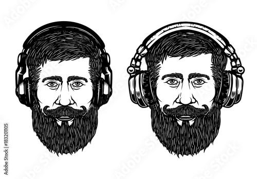 set-of-hipster-head-with-headphones-design-element-for-emblem-sign-label-poster-vector-illustration