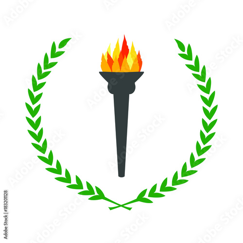 Olympic Flame Burning Torch With Laurel Wreath Green Leaves Circle
