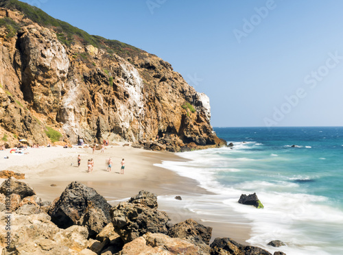 Dume Cove Malibu, Zuma Beach, emerald and blue water in a quite paradise beach surrounded by cliffs Canvas Print
