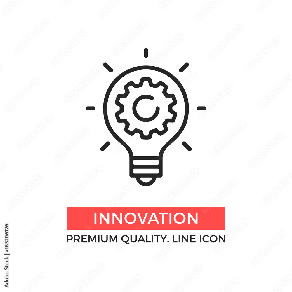 Fototapeta Vector innovation icon. Light bulb and cog inside. Premium quality graphic design element. Modern sign, linear pictogram, outline symbol, simple thin line icon