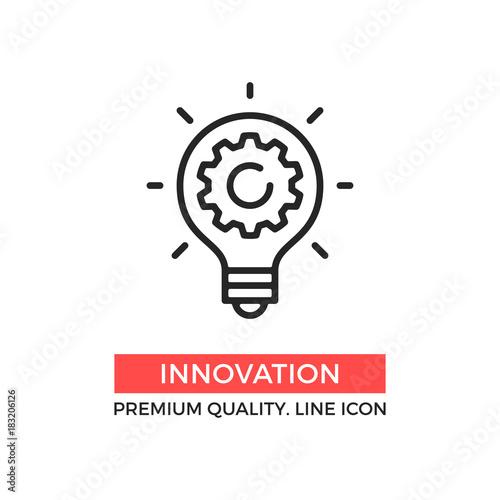 Fototapeta Vector innovation icon. Light bulb and cog inside. Premium quality graphic design element. Modern sign, linear pictogram, outline symbol, simple thin line icon obraz