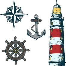 Set Sea Illustrations. Anchor, Wheel, Sailing Ship, Compass Rose, Lighthouse . Sketch Stile. Colored.