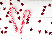 Christmas Candy Cane On White ...