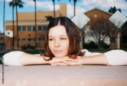 Fotografie, Obraz  Soft Focus Lovely Brunette Girl