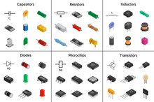 Big Vector Set Of Izometric Electronic Components. Collection Of Capacitors, Resistors, Diodes, Transistors, Inductors, Microchips