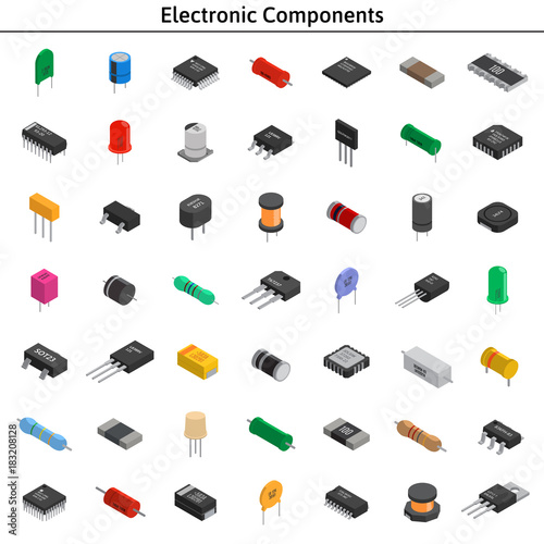 Big Vector Set Of Izometric Electronic Components Collection Of