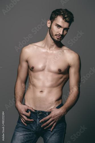 Deurstickers Akt shirtless young man