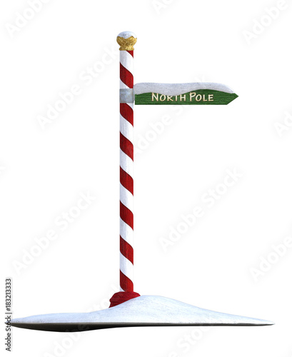 Fotografia North pole christmas sign isolated on white. 3d render