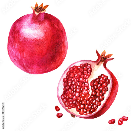 Watercolor illustration. An image of a pomegranate, halves of a pomegranate and pomegranate grains.