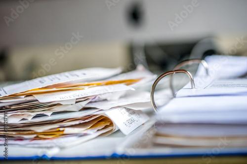 Steuererklärung, Belege, Quittungen, Ordner, Chaos, Canvas Print