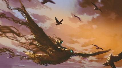 man on the giant bird flyin...