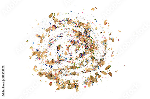 Shavings from a color pencils isolated  on a white background. Canvas-taulu