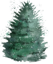 Christmas Tree Watercolor Effect