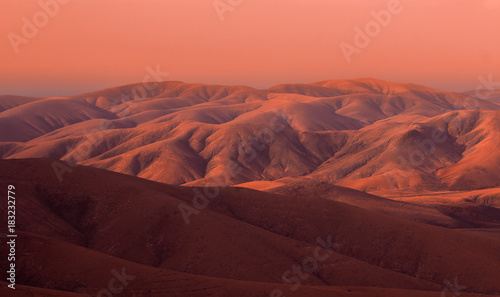 Mars looking sunset in Fuerteventura mountains, Canary Islands, Spain
